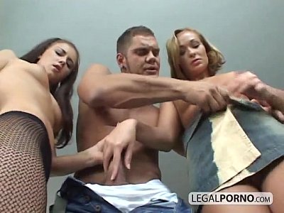 Brunette Threesome Hugecock video: Huge cock fucking two sexy sluts NL-4-01