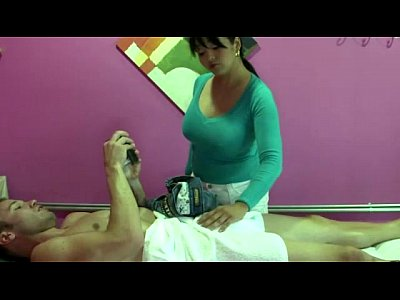 Asiansex Blowjob Handjob video: Busty real masseuse tugs cock before sucking