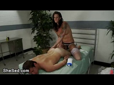 Tattoed ass shemale fucks guy on bed