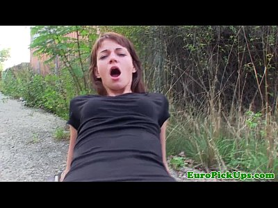 Pulled european babe drilled outdoors