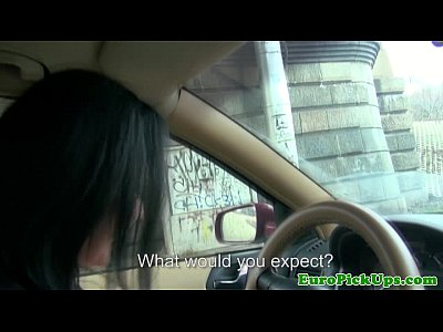 Blowjob Brunette European video: Pulled female taxi driver sucking cock