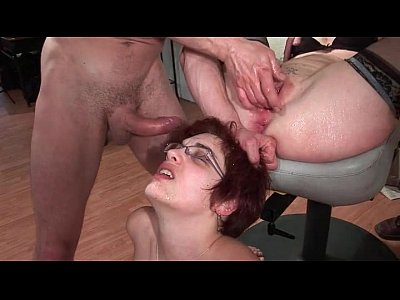 Hairy french mature gangbanged and cum covered