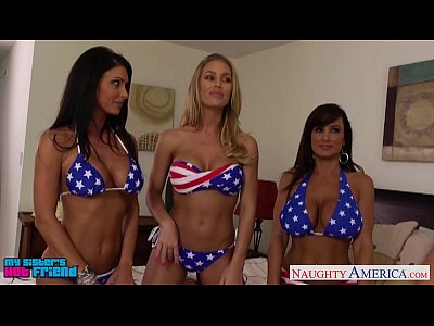 Fuck Group Hardcore video: Sexy girls Jessica Jaymes, Lisa Ann and Nicole Aniston sharing cock