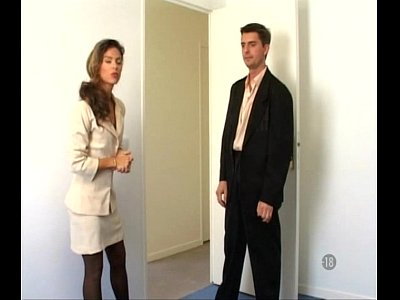 French Stockings Office vid: french brunette hot fuck