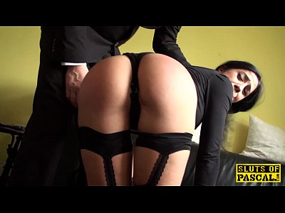 Squirting British Lingerie video: Squirting brit submissive is cumswallowing