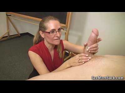 Blowjob Handjob Milf video: Mature Blonde Sucks A Big Boner