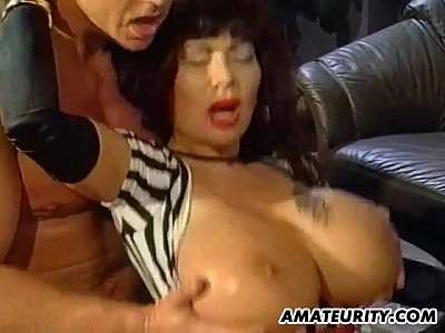 Bigboobs Bigtits Blowjob video: Busty amateur mom foursome with cum on tits
