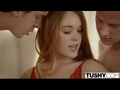 Facial Threesome Redhead video: TUSHY First Double Penetration For Redhead Kimberly Brix
