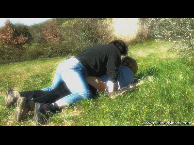 Bbw Blonde Blowjob video: Making Love On The Grass