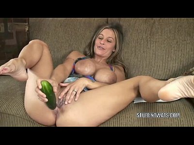Masturbation Fetish Solo video: Busty cougar Leeanna Heart masturbates with a cucumber
