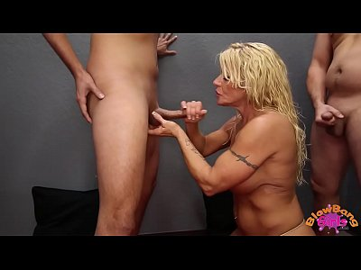 Blowbang Blowjob Cumshot video: Big Tit MILF Blowbangs and Takes Cumshots