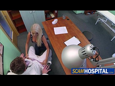 Blonde Pornstar movie: Beautiful doctors wife gets banged in the table by a huge cock
