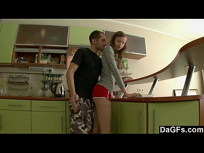 Amateur Teen Brunette video: Surprise Sodomy In The Kitchen