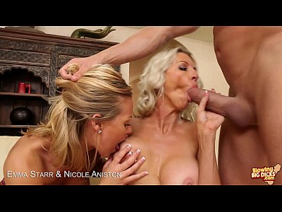 Blondes Emma Starr & Nicole Aniston blowing a big cock