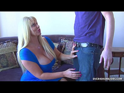 Milf Mature Busty video: Huge-Titted Blonde Strokes A Young Guy's Cock