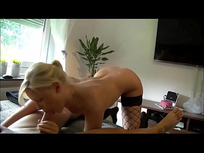 Amateur Stockings video: Amateur Blonde Babe Jerks him All Over her Pussy