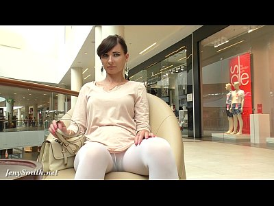 Public Nudity Hidden video: Jeny Smith white pantyhose flashing hidden cam