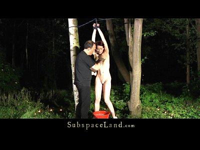 Bondage Doggystyle Domination video: Redhead bitch restrained and fucked in the woods