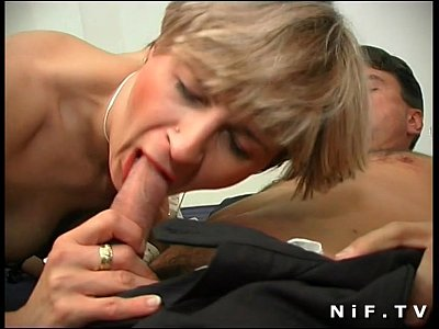 Amateur French Stockings video: Short haired french milf in stockings gets her ass pounded and facialized
