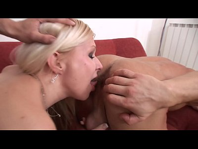 Busty blonde Bianca Ferrero gets fucked and creamed by two bi studs in all out threesome