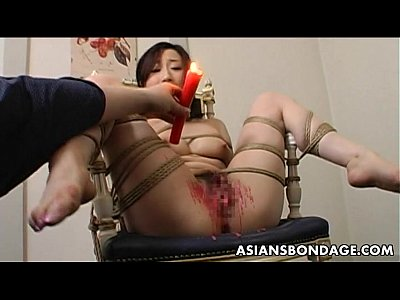 Asian Ass Bdsm video: Toy fucked tied up and pussy waxed