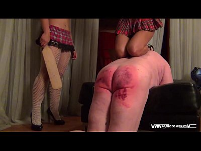 Brutal Domination Femdom video: Schoolgirls Spanking & Paddling their pervy teacher