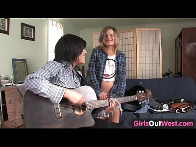 Babes Fingering Teen video: Girls Out West - Cute lesbian musicians with shaved cunts