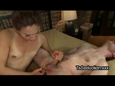 Small tits tranny fucks bound guy in bed