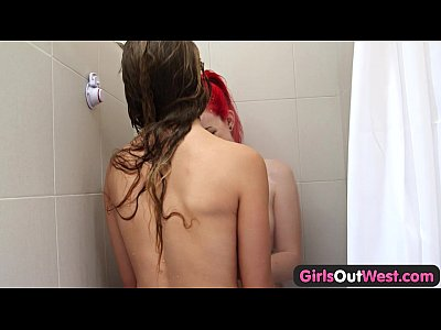 Girls Out West - Slender Aussie lesbian babes insert fingers