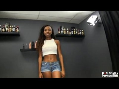 Ebony video: young ebony girl fucked by 5 white boys one after another