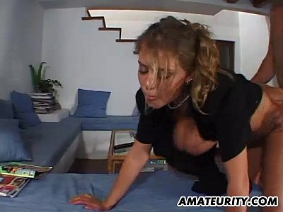 Amateur Hardcore video: Busty amateur girlfriend home action with cum on tits