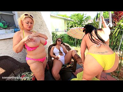 Bbw Tits Boobs video: 3 BBW Lesbians Sam Lexxxi and Angelina Lick Tits Outside