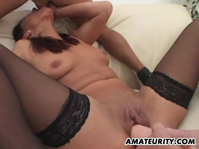 Stockings Group Teen video: Amateur girlfriend takes 2 dicks with facial shots