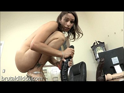 Gaping Masturbation Brunette video: Amber Rayne gapes her asshole with a long black dildo