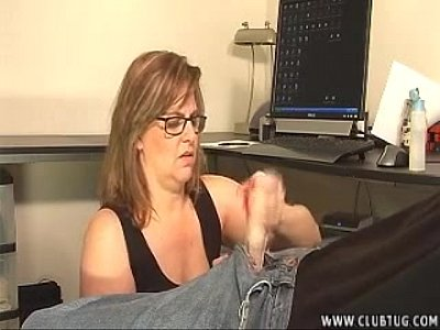 Handjob Milf Mature video: Mature Lady Takes Care Of A Young Dick