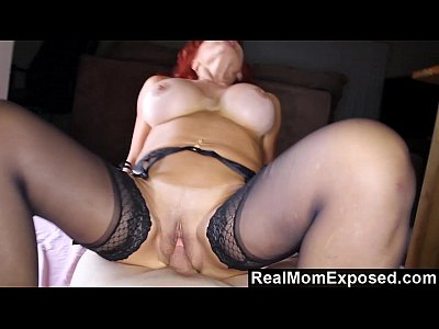 Bigboobs Blowjob Busty video: Redhead Cougar Toying With Her Prey
