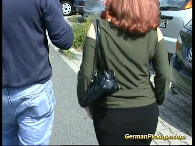 German Amateur Public vid: busty German redhead Picked up
