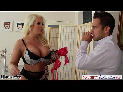 Bigass Blonde Blowjob video: Chesty blonde wife Alura Jenson gives titjob