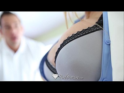 Blowjob Facial Milf video: PureMature - Hot guy interviewed and fucked by busty Milf Alyssa Lynn