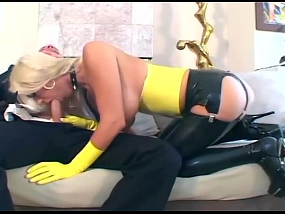 Bigtits Busty Corset video: Blonde fucking in latex stockings and a garter