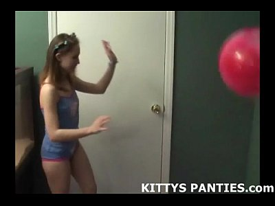 Flashing Teen Outdoor video: Cute teen Kitty playing with playdough