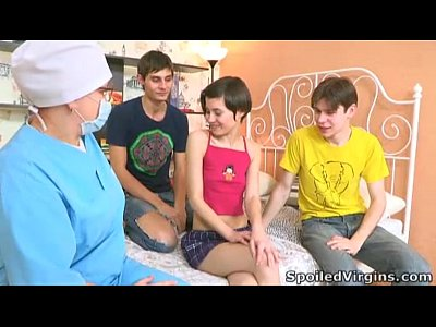 Blowjob Couple Russian video: Boys helped cute Martina to get rid of virginity