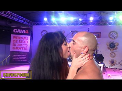 Brunette pornstar anal fuck on stage