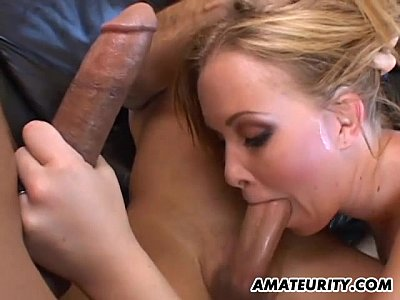 Closeups Creampie Cumshot video: Anal threesome with double penetration and creampie