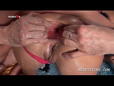 Fisting Pussy Extreme vid: Kinky nymph gets ass hole fisted and largely spread