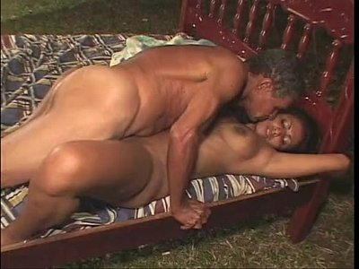 Boobs video: Brunette is getting grandpa cock