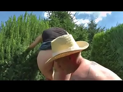 Daughter get fuck by German Step-Dad in Garden when Mom away