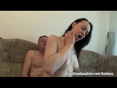 Brunette Cumshot Fucking video: Teen Stepdaughter Doggystyle Fucked In The Couch