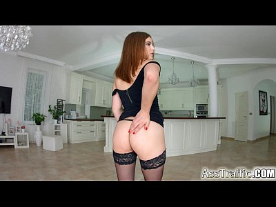 Ass Asstraffic Brunette video: Asstraffic brunette in black dress gets analized