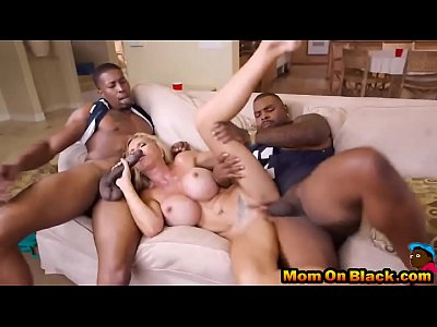 Hot milf banged with two blacks